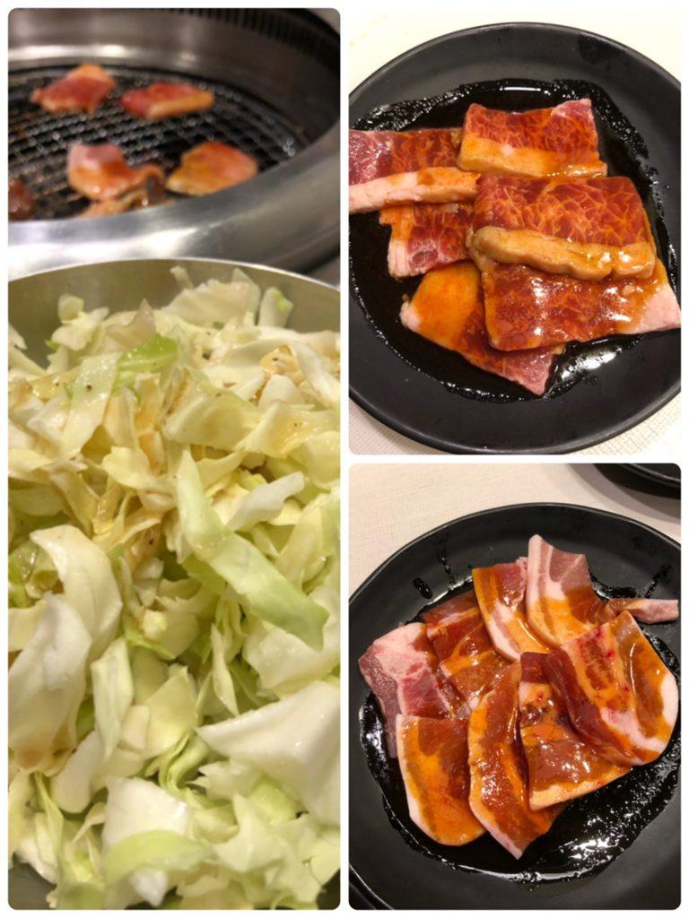 じゅうじゅうカルビ肉とキャベツ