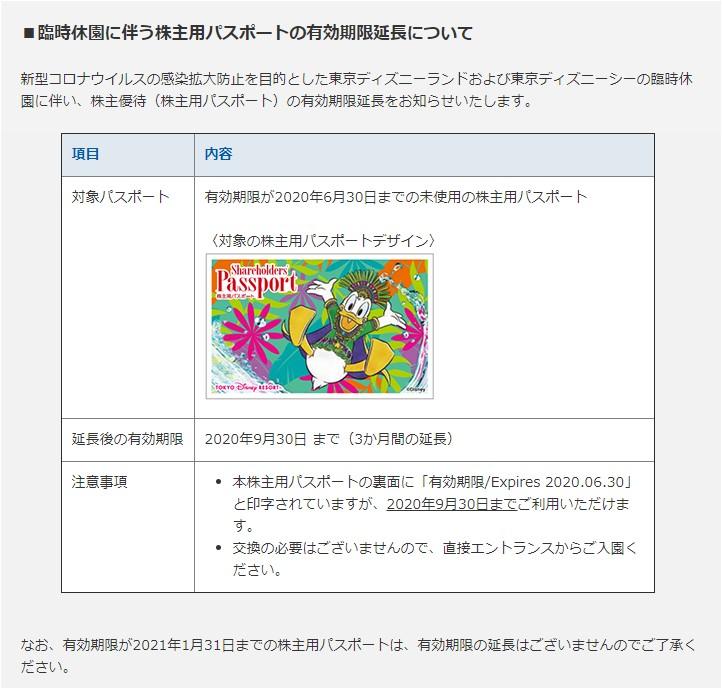 (コロナ)ディズニー株主優待延長