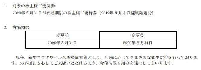 クリレス株主優待期限延長