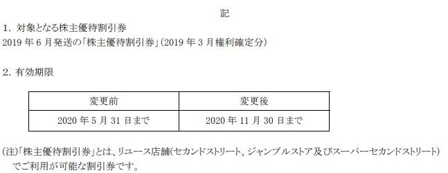 (コロナ)ゲオ株主優待期限延長