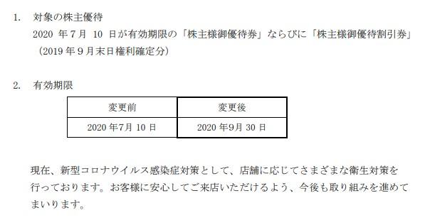 (コロナ)サガミ株主優待延長