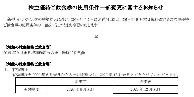 マルシェ株主優待期限延長