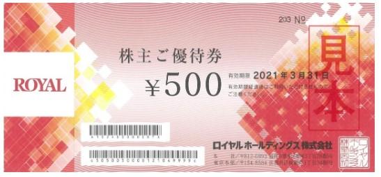 ロイヤルHD株主優待券