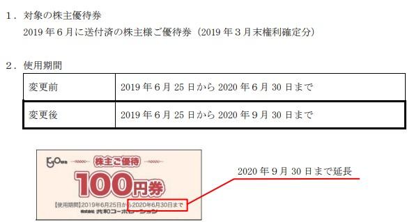 (コロナ)共和コーポレーション株主優待期限延長