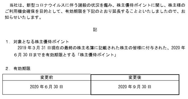 (コロナ)カッパ寿司株主優待期限延長