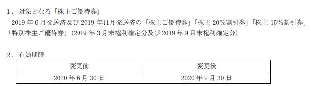 (コロナ)ジーテイスト株主優待期限再延長