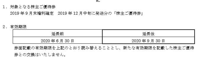(コロナ)ツツミ株主優待延長