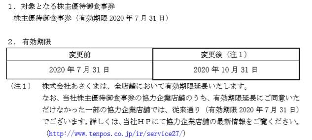 (コロナ)テンポス株主優待期限延長