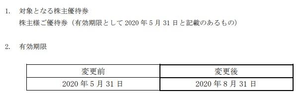 (コロナ)ハピンズ株主優待期限延長