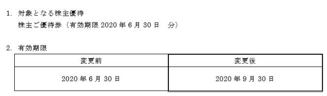 (コロナ)フライングガーデン株主優待期限延長
