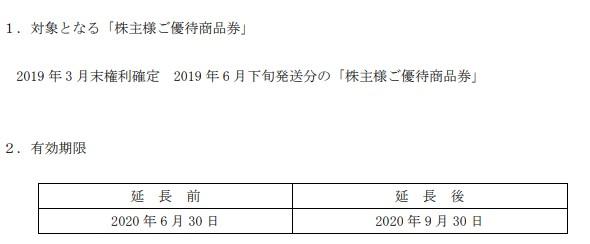 (コロナ)ベリテ株主優待延長