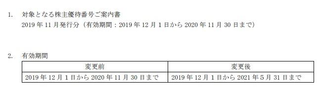 (コロナ)ANA株主優待延長2019年11月発行分