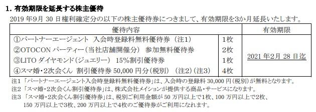 パートナーエージェント株主優待期限延長
