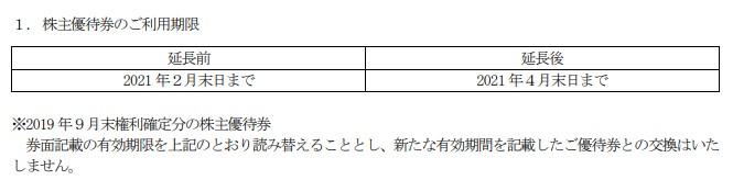 ユニマット株主優待券期限延長