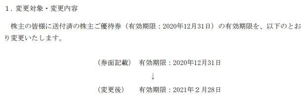 海帆2020年12月期限の優待延長情報