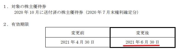 鳥貴族株主優待期限延長情報2021年6月まで