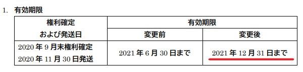 チムニー株主優待期限延長情報202112まで
