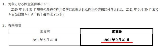 アトム株主優待期限延長情報202109