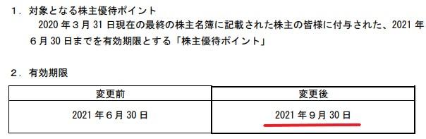 カッパ株主優待期限延長情報202109