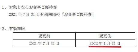 ギフト株主優待期限延長情報202201