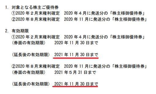 ミニストップ株主優待期限延長情報202111