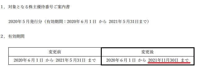 SFJ株主優待期限延長情報202111