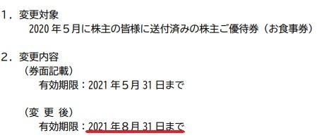 SLD株主優待期限延長情報202108