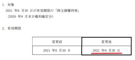 SRS株主優待期限延長情報202109