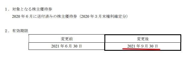 WDI株主優待期限延長情報202109