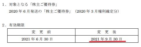 あみやき亭株主優待期限延長情報202109