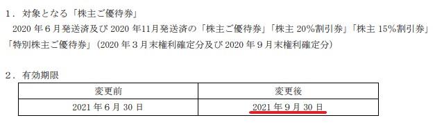 ジーテイスト株主優待期限延長情報202109