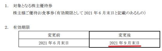 フジオフード株主優待期限延長情報202109