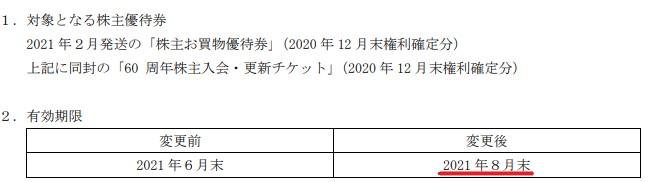 藤久株主優待期限延長情報202109