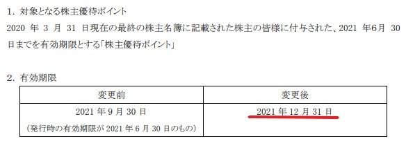 アトム株主優待期限延長情報202112