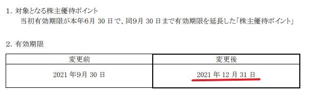 カッパ株主優待期限延長情報202112