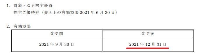 フライングガーデン株主優待期限延長情報202112