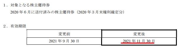 WDI株主優待期限延長情報202111